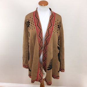 Modcloth Deer Stag Open Draped Cardigan Sweater